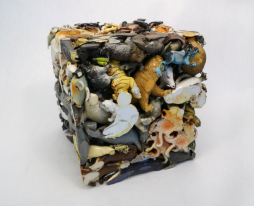 "Animal Cube, 2014, plastic animals, 12"" x 12"" x 12"""
