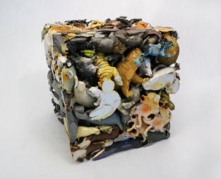 "Animal Cube, 2014, plastic animals, 12"" x 12"" x 12"""