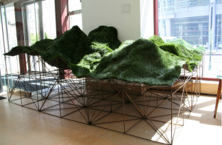 We are our mountains, 2013, rebar and found astroturf